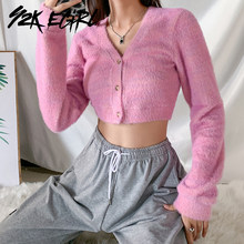 Y2K EGIRL Cute Pink Single-breasted Long Sleeve Cropped Tops Vintage V-neck Shaggy Slim Knitted Cardigans Fashion Autumn Outfits(China)