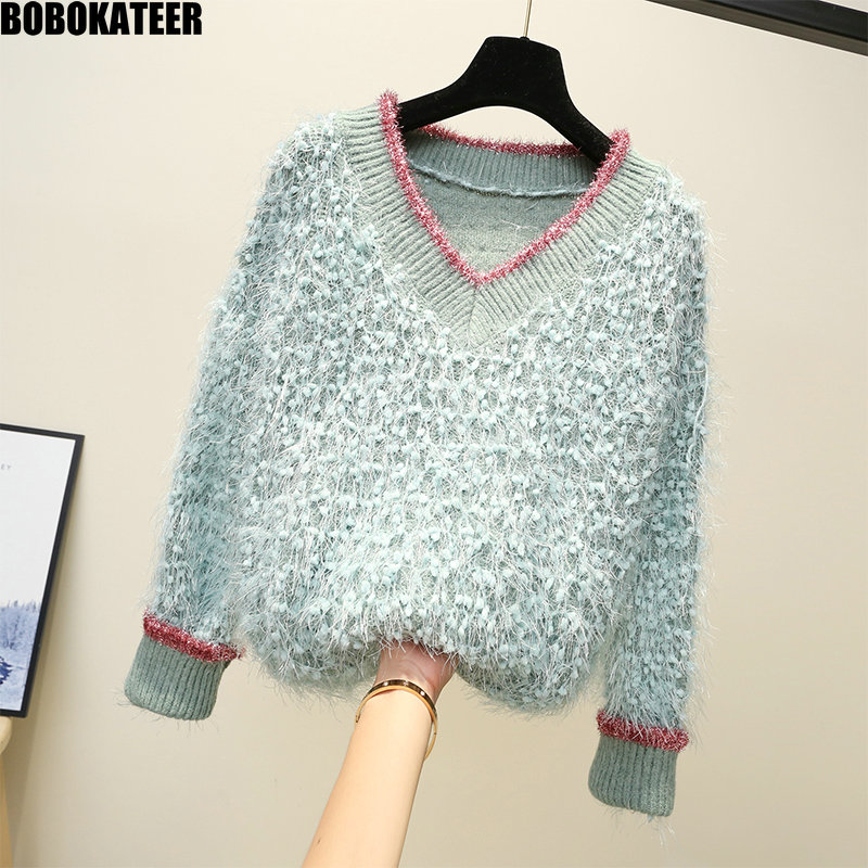 BOBOKATEER Fashion Autumn Winter Loose Pink Kawaii V Neck Sweater Women Clothes White Fluffy Female Sweater Pullover New 2019