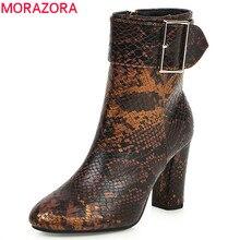 MORAZORA 2020 yeni varış kadın yarım çizmeler yılan toka zip sonbahar kış patik moda yüksek topuklu ayakkabı kadın büyük boy 43