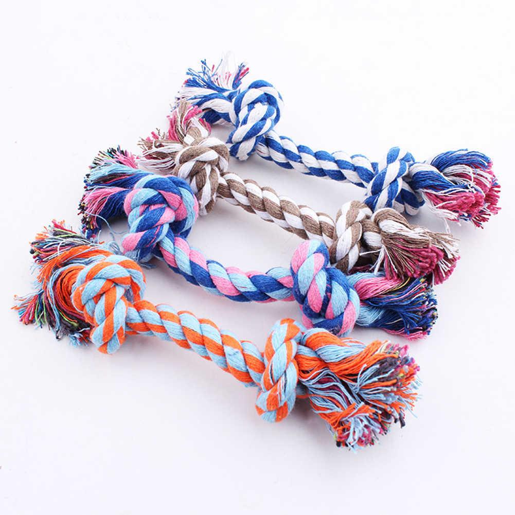 1 sztuk zwierzęta zaopatrzenie dla piesków pet Dog Puppy Cotton supeł do gryzienia zabawki trwałe pleciona kość liny zabawne narzędzie losowy kolorowy pies zabawki