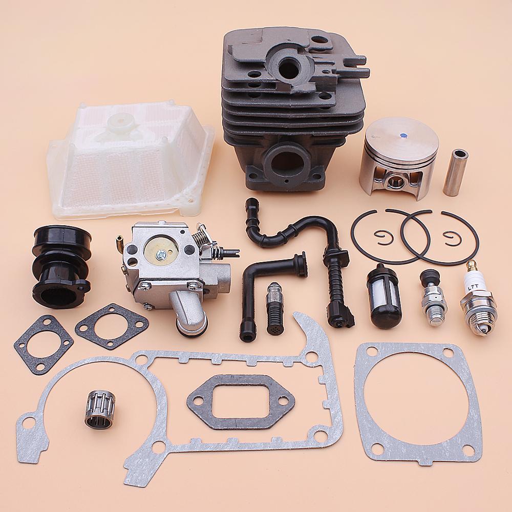 49mm Cylinder Piston Carburetor Kit For Stihl MS361 MS 361 Air Fuel Oil Filter Line Intake Manifold Gasket Decompression Valve