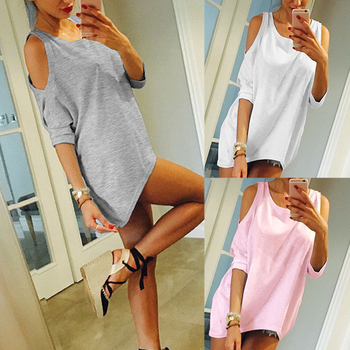 цена на Cold Shoulder Shirt Asymmetrical Tunic Big Size 4xl 5xl Irregular Hem Simple Shirt Solid Color Harajuku Sexy T Shirt Women Plain