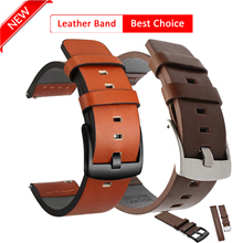 High Quality Leather Watchband for Samsung Galaxy Watch 3 41mm 45mm Active2 20mm Strap Band for Watch Quick Release 18mm 24mm