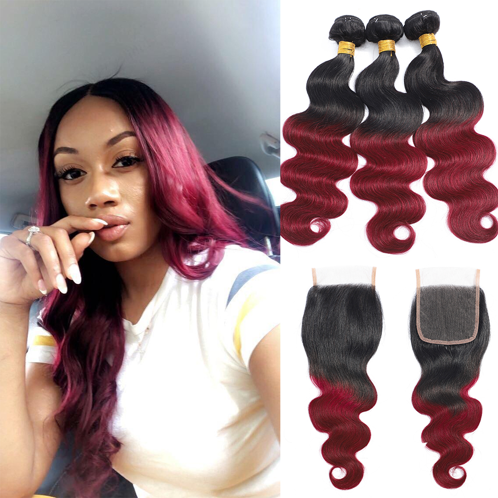Ombre Body Wave 3/4 Bundles With Closure Brazilian Human Hair Bundles With Lace Closure 1b/99J Non-Remy Hair Weave Extensions