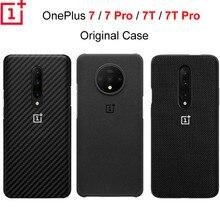 Original OnePlus 7 Pro 7T 7 7T PRO ป้องกันกรณี Karbon คาร์บอนหินทรายไนลอนกันชนซิลิคอนกรณีกลับ SHELL