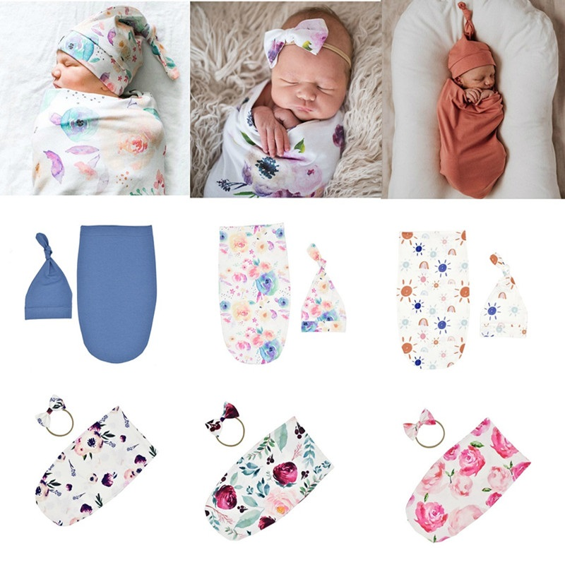 Newborn Photography Prop Baby Blankets  Newborn Infant Baby Boys Girls Sleeping Swaddle Muslin Wrap  Newborn Hat Headband