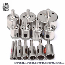 FGHGF 15 ชิ้น/เซ็ต 6mm 50mm Diamond Coated หลุมเลื่อยเจาะบิตสำหรับแก้วเซรามิคหินอ่อนเจาะบิต