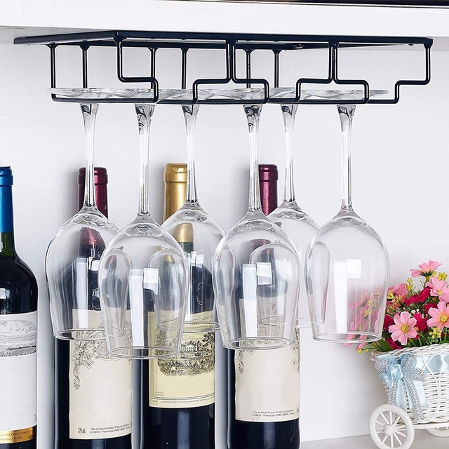 Hanging  Wine Glass Rack Under Cabinet Stemware Wine Glass Holder Glasses Storage Hanger Metal Organizer For Bar Kitchen