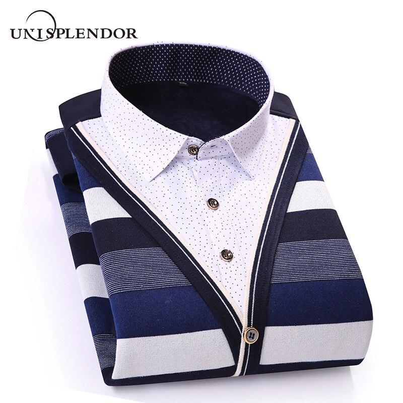 2019 Winter Thicken Men Shirt Fake Two Pieces Casual Man Shirts Stripe Contrast Color Men Business Shirt Warm Soft Shirt YN10551