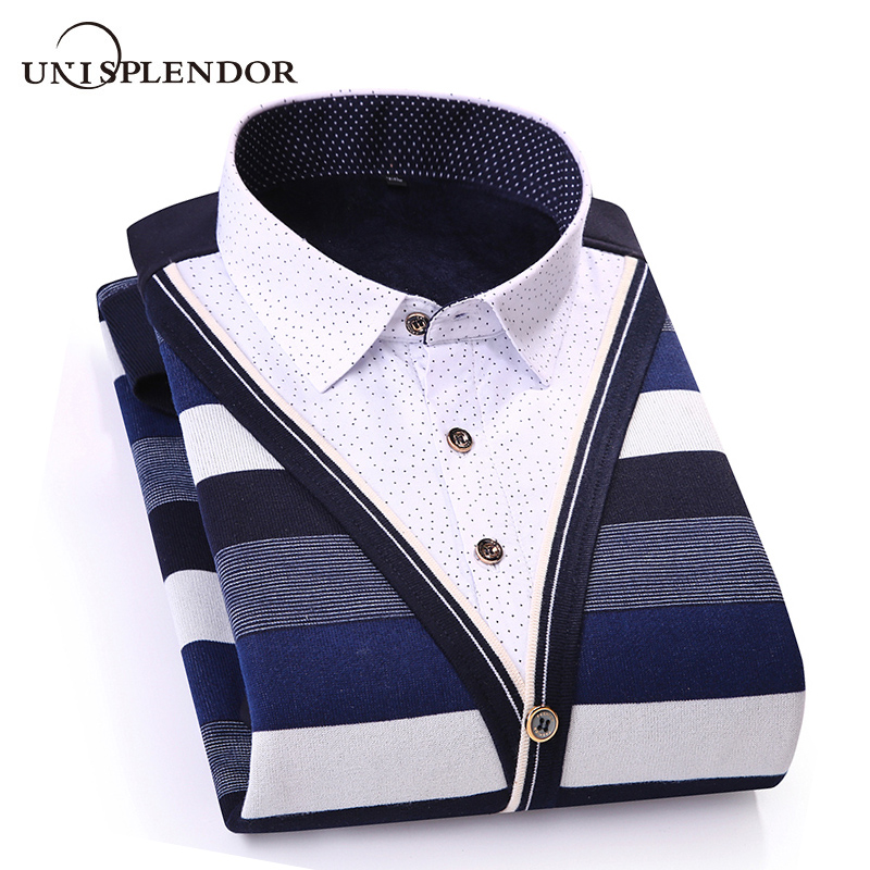 2020 Winter Thicken Men Shirt Fake Two Pieces Casual Man Shirts Stripe Contrast Color Men Business Shirt Warm Soft Shirt YN10551