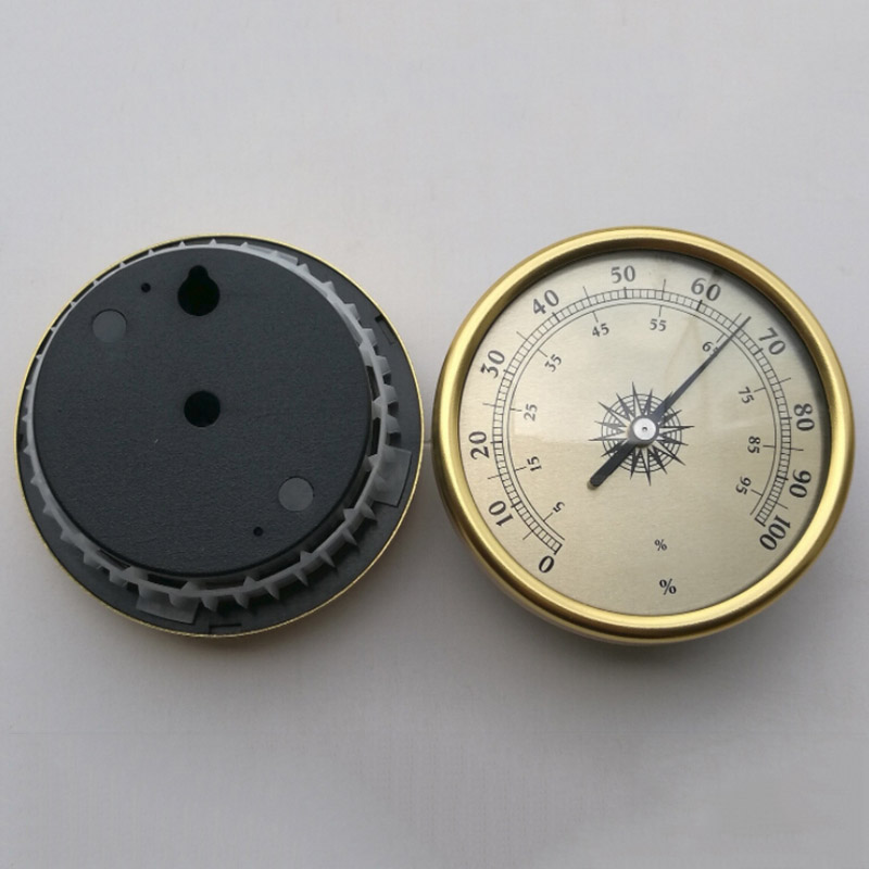 Vintage Brass Thermometer Multifunctional 7.2cm Round Durable Gold Hygrometer Humidity Meter Household Thermometers