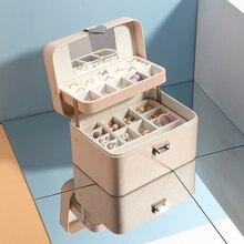 Casegrace nuevos multicapa automática de joyería de cuero caja de tres capa de almacenamiento de caja para las mujeres, pendiente, anillo, organizador de cosméticos ataúd