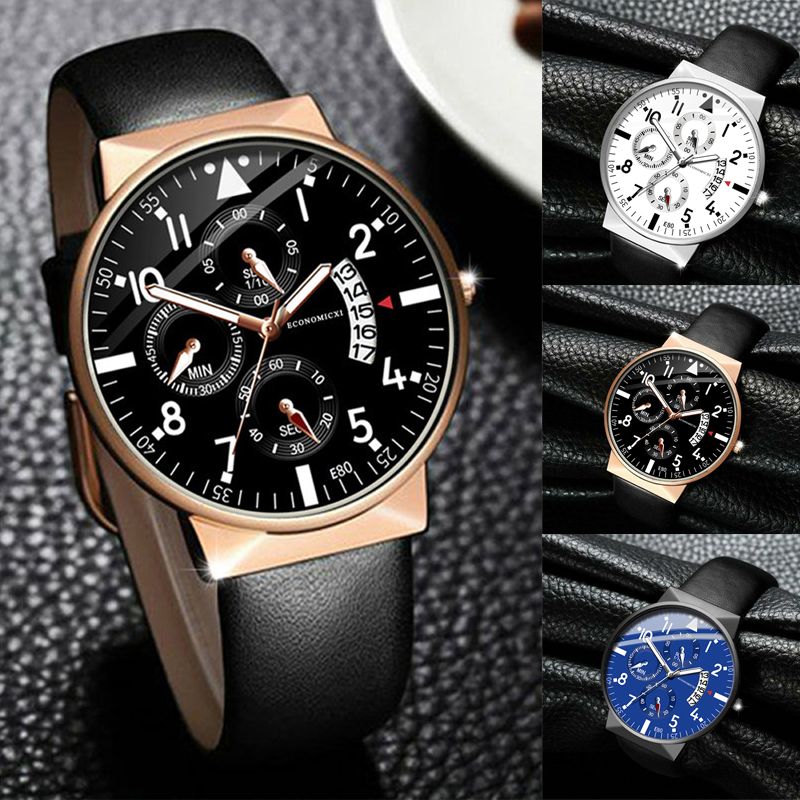 Business Watch Design Luminous Mens Casual Quartz Brand Watches Leather Strap Modern Gift WristWatch Relogio Masculino