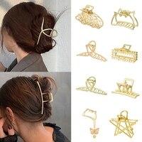 2021 nuove donne eleganti oro cava geometrica metallo artiglio dei capelli clip di capelli Vintage fascia tornante accessori per capelli granchio