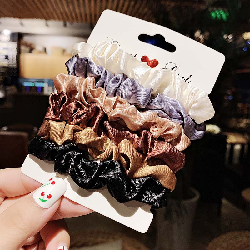 New 1Set Women Elegant Silk Velvet Elastic Hair Bands Headband Scrunchie Rubber Band Ponytail Holder Fashion Hair Accessories