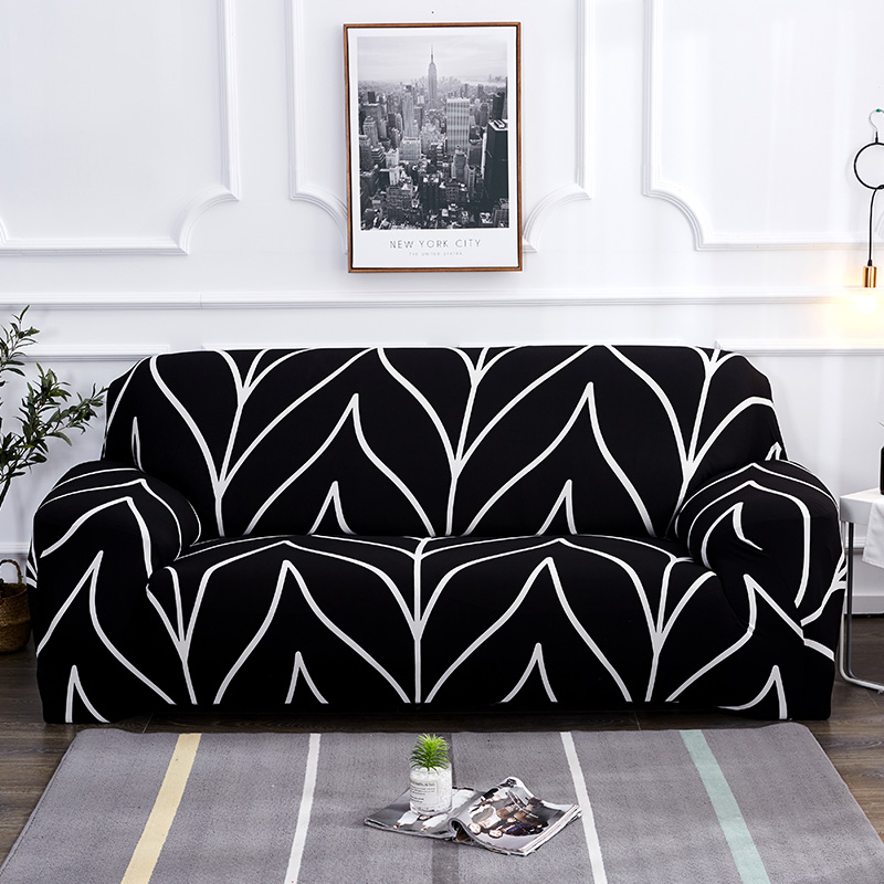 Wrinkle Free Couch Cover with Elastic and Straps for Sofa in Living Room Made of High Quality Spandex Material