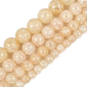 Натуральный камень перлы желтый треснутый Кристалл для Diy браслета ювелирных изделий кварцевые круглые бусины 6 8 10 мм 15 ''нитка оптовая прод...