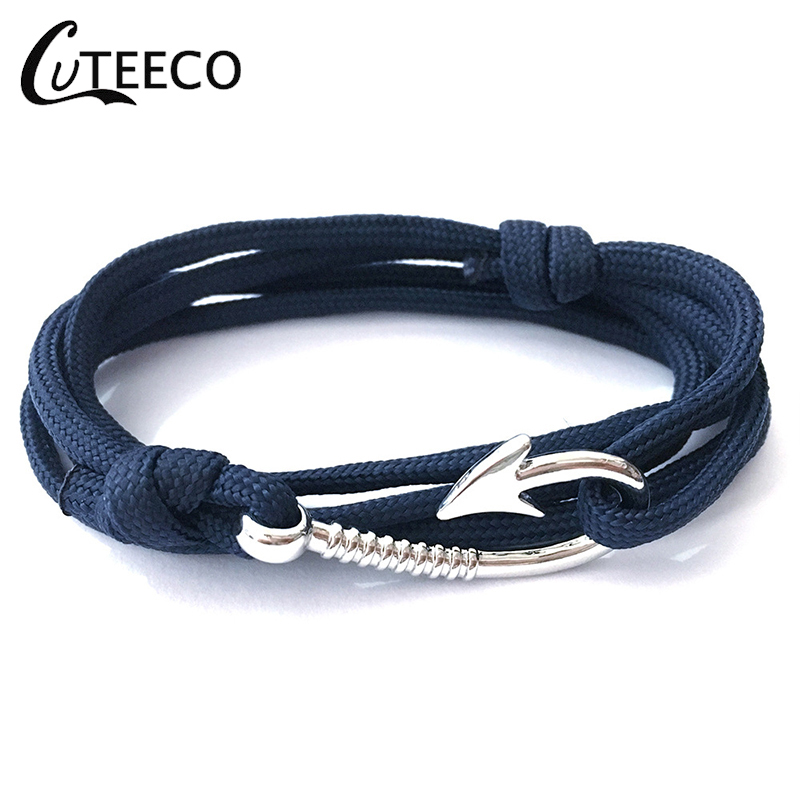 CUTEECO hook Man Anchor Bracelet Bangle Pulsera Hot Sell Design Handmade Weave Polyester Material Bracelet For Woman