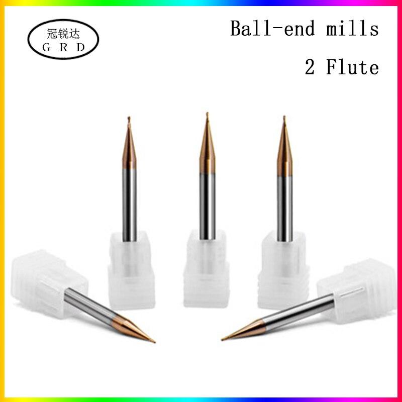 HRC55 2-Flute Tungsten Steel Ball Nose End Milsl Small Slot Diameter 0.2mm 0.3mm 0.4mm 0.5mm 0.6mm 0.7mm 0.8mm 0.9mm Cnc Milling Machine
