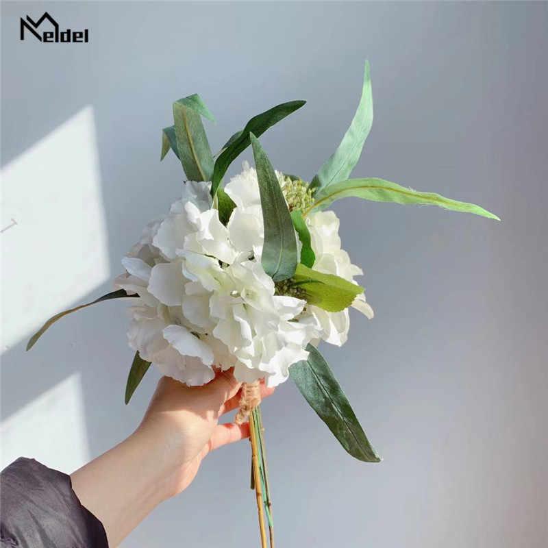 Meldel חתונה זר פרחים מלאכותיים משי רוז האדמונית הידראנגאה זר יער סגנון ארוך עלים חתונת בית המפלגה תפאורה