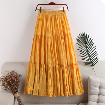 Wrinkle Skirts Women Three Section Patchwork Minimalist Solid Elastic Waist Woman A-Line Skirt Big Swing Long Pleated Skirt diamond striped pleated skirt fashion elastic waist a line elegant long skirt for women autumn winter streetwear patchwork skirt