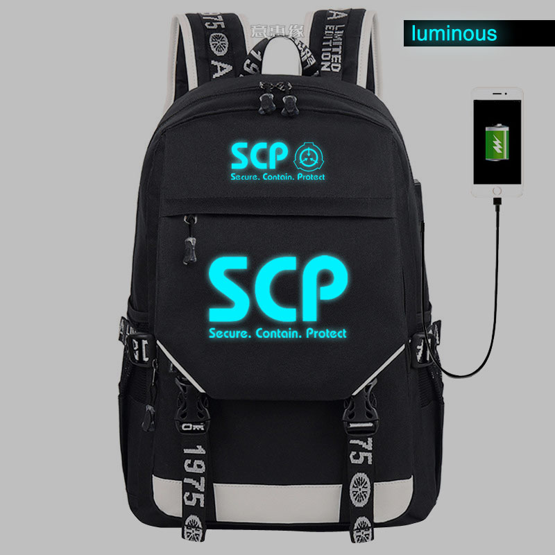 SCP Secure Contain Protect Backpack Student School Canvas Bag Luminous Schoolbag Reflect Light Travel Bags