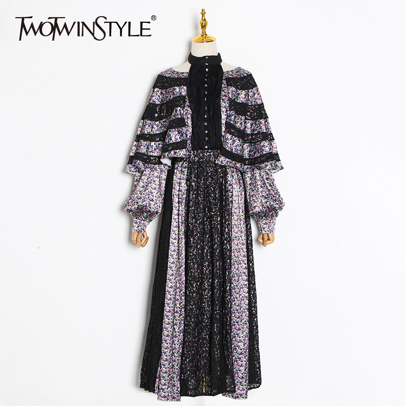 TWOTWINSTYLE Patchwork Lace Printed Dress Female Long Bat Sleeve Lace up Midi Dresses Women Fashion Clothes 2020 Spring New