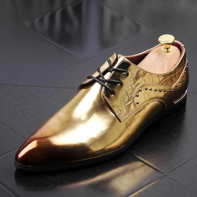New Arrival Mens Dress Shoes Gold Luxury Fashion Derby Shoes For Men PU Leather Shoes Size 38-43 White Wedding Shoes