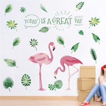 Flamingo Leaf Wall Sticker Home Decal for Bedroom Living Room Accessories Tv Background Wall Decals Art Home Decor Poster Mural holy buddha stickers religion vinyl wall sticker for living room decal decor mural bedroom wall art decals muurstickers wl2025