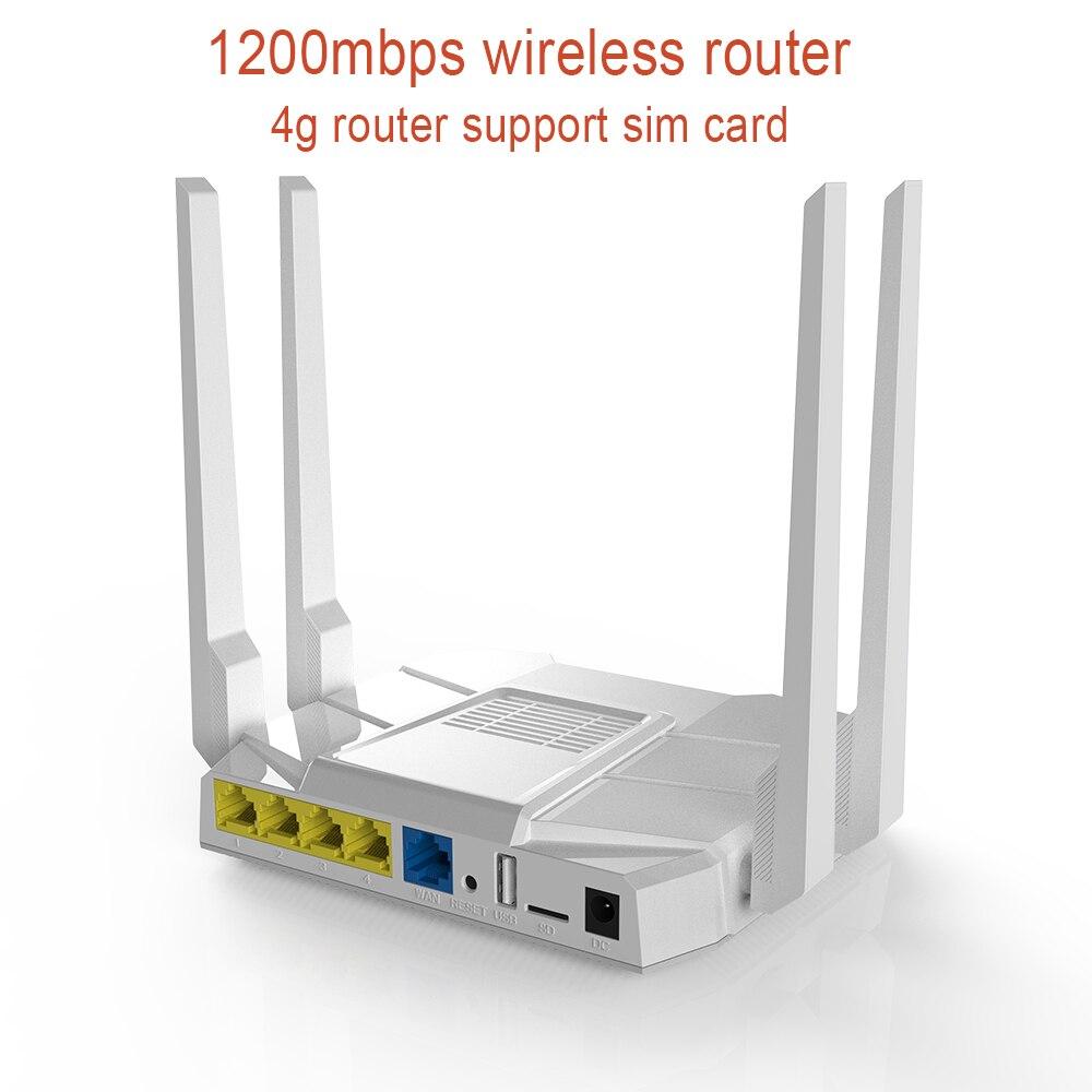 1200M routeur sans fil support carte sim fonction 4G Modem routeur MTK7628N chipset double bande Wifi routeur haut Gain 4 antenne