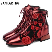 retro fashion lace-up women's cow leather mid heels ankle boots ethnic style flower pattern purple red woman shoes