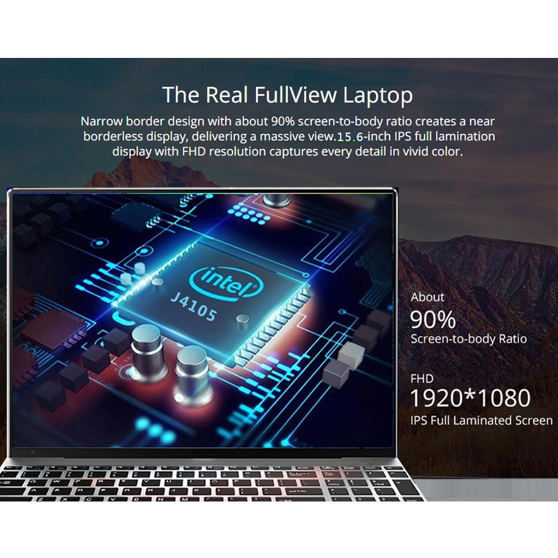 15.6 inch Laptop 8G RAM 1TB/512G/256G/128G SSD ROM Notebook Computer FHD IPS Screen Quad Core Gaming Laptops win10