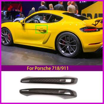 Car Styling Carbon fiber For Porsche 718/911 Outer Door Bowl Handle Stickers protection Covers Trim Auto Accessories Exterior image