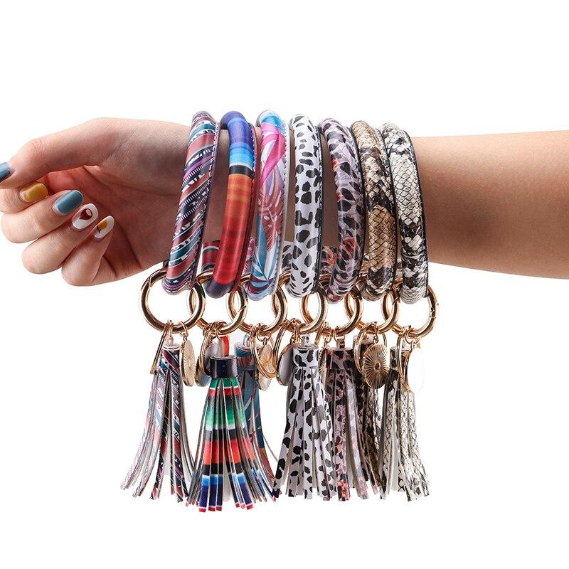 ZG Women Bangle Bracelet Leather KeyChain Wholesale Circle Flower Tassel Wristlet Lovers Keychain For Ladies In 28 Colors