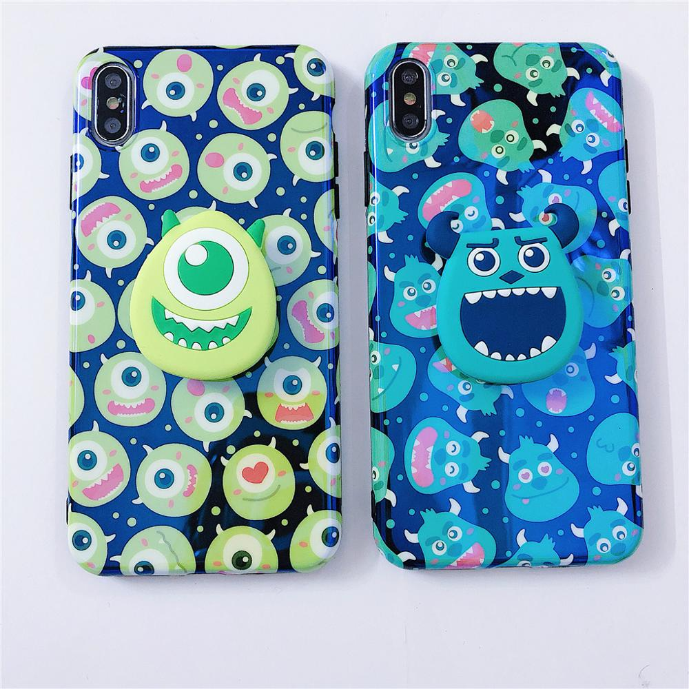 Image 4 - Funny Cartoon Cute Lovely Monster Dots Phone Case For iPhone X 8 7 6 6s plus XS 11 Pro Max XR Grip Holder Stand Back Cover Coque-in Fitted Cases from Cellphones & Telecommunications