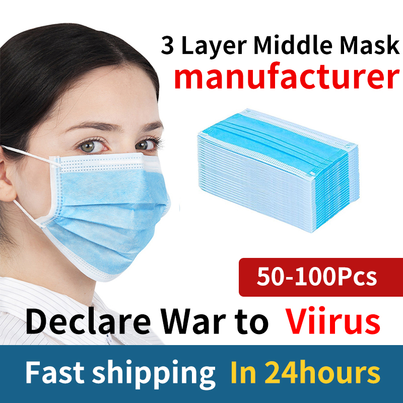 50 100 Pcs Masks 3 Ply Layer Non-Woven Disposable Protective Face 95 99 M N Mouth Anti Dust Proof Safety Mask Masque Nose Ffp Kf