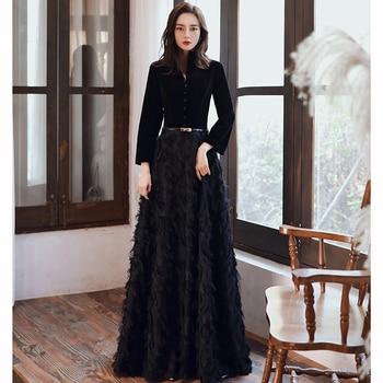 wei yin AE0349 Black Elegant Velvet Long Prom Evening Dresses 2020 Long Sleeves Lace Formal party Gowns Srobe de soiree