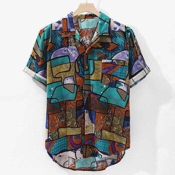 Womail 2019 New Arrivals Casual Print Brand Shirt Men Short Sleeve Button Tops Loose Fashion Men Beach Hawaiian Shirt M-4XL 1