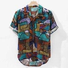 Womail 2019 New Arrivals Casual Print Brand Shirt Men Short Sleeve Button Tops L