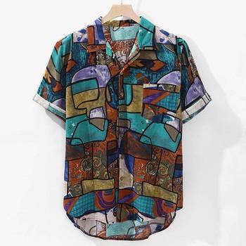 Womail 2019 nowości na co dziń z nadrukiem koszula marki mężczyźni krótki guzik na rękawie topy luźna moda męska hawajska koszula plażowa M-4XL tanie i dobre opinie COTTON Pościel Koszule Skręcić w dół kołnierz Pojedyncze piersi REGULAR man shirt Suknem Na co dzień Drukuj man shirts high quality