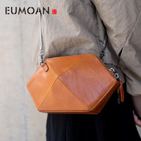 EUMOAN Women's bag new autumn and winter tide vegetable tanned leather art exquisite retro handmade shoulder rhombus messenger p