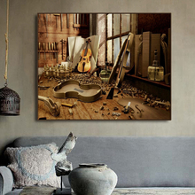 Canvas Painting Calligraphy Music Cello Decadent Dilapidated Popular Modern Decorative Picture Large Poster Vintage Home Decor