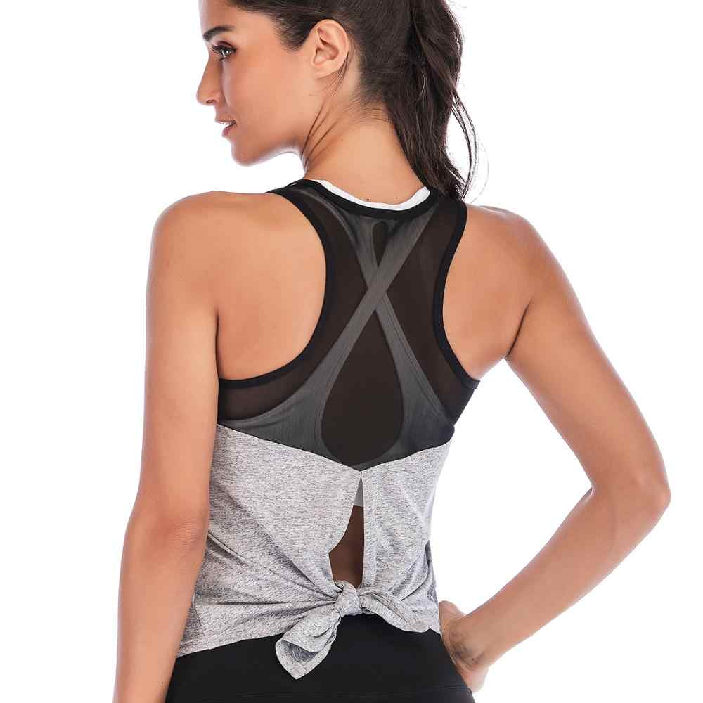 Zhangyunuo Backless Sport Yoga Mesh Shirts Women Workout Tops Fitness Gym T-Shirt Professional Tank Top Sleeveless Athletic Vest