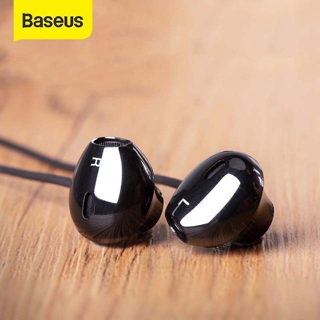 Baseus h06 3.5mm com fio fone de ouvido com microphoe fone de ouvido estéreo para iphone 6s plus para samsung s10 fones de ouvido