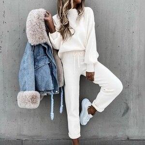 2020 New Women Autumn Winter Pullover Hoodie + Long Pants Sports Suit Female Sweatshirt Sportswear Suit Tracksuit 2 Piece Set