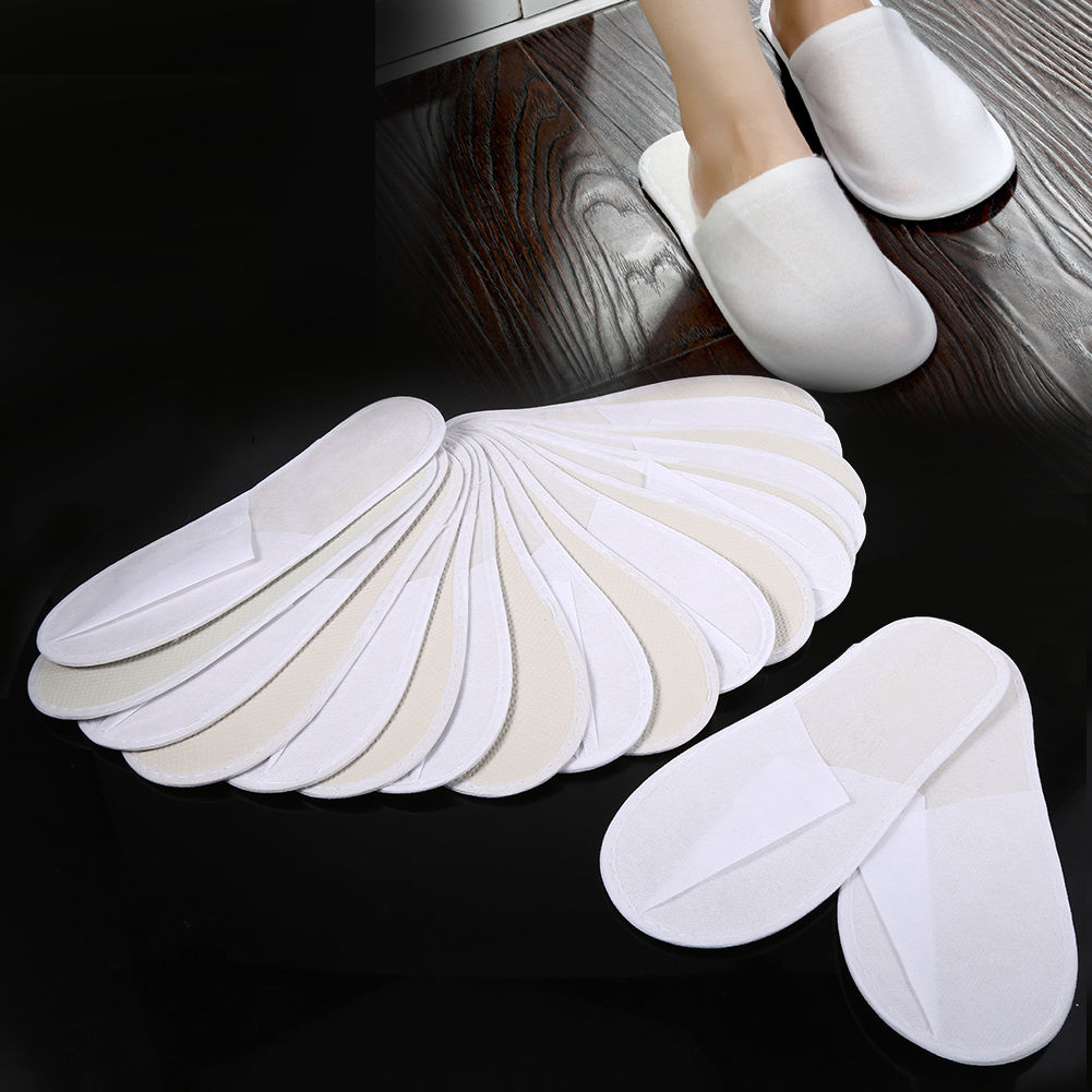 10 Pairs Hotel Disposable Slippers Men Women Travel One Time Slipper Sanitary Party Home Guest Use Shoes Fluffy Closed Toe Solid