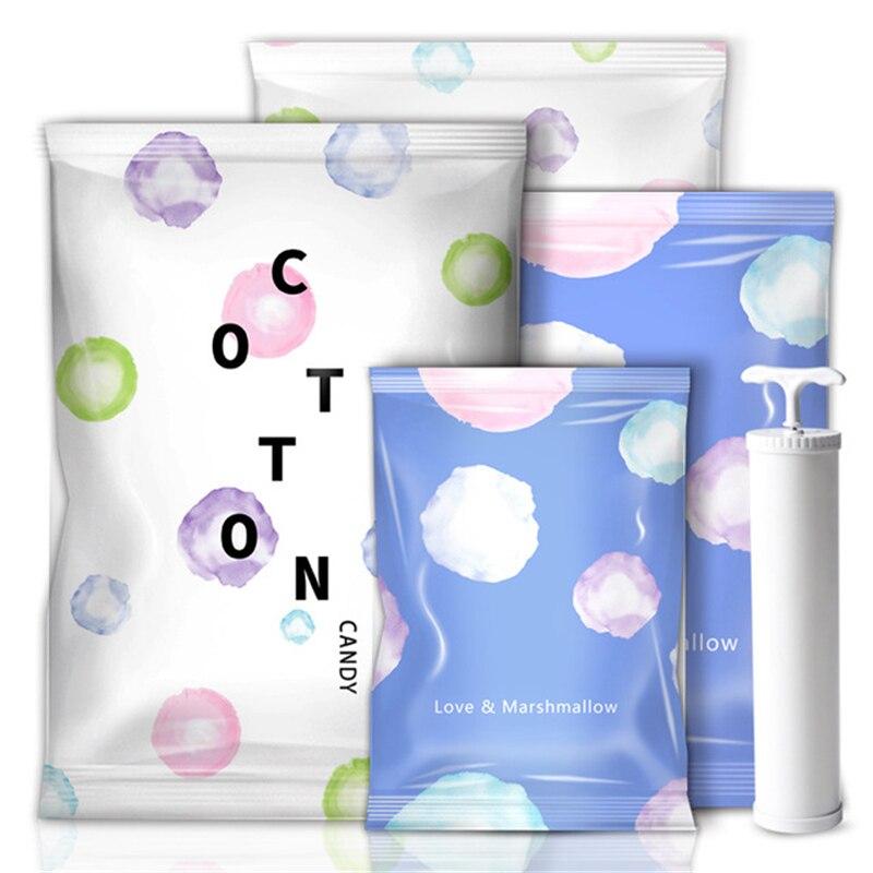 Домашний удобный вакуумный компрессионный мешок зефир и воздуходувки печать одежда уплотнение Сжатый для экономии места в путешествии сумки посылка - Цвет: cotton candy