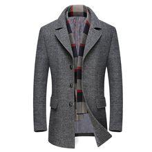 Gabardina Casual para hombre moda negocios largo grueso Delgado abrigo chaqueta tamaño europeo Dropshipping