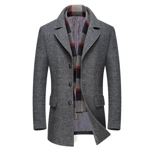 Image 1 - Mens Casual Trench Coat Fashion Business Long Thicken Slim Overcoat Jacket European size Dropshipping