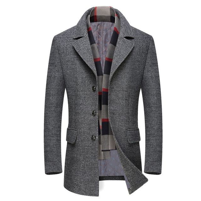 Mens Casual Trench Coat Fashion Business Long Thicken Slim Overcoat Jacket European size Dropshipping